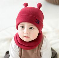 bebek beanies desenleri toptan satış-Unisex Çocuk Küçük Salyangoz Tığ Örme Kapaklar Ve Eşarp Kış Sıcak Kış Kulaklığı Takım Set Bebek Yürüyor Sıcak Çocuklar Sevimli Desen Beanies Şapka Set