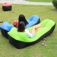 Wholesale kids inflatable beds resale online - 2019 New Outdoor lazy sofa sleeping bag portable folding rapid inflatable air sofa bag Adults Kids Beach Lounge blow up lilo bed