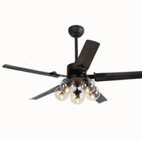 aydınlatma modo toptan satış-Modern Tavan Fanları Işık Modo Işık Cam Gölge E27 Ampuller ile Kolye Tavan Işıkları 110 V 220 V 48 inç 42 inç Hayranları Lamba Ampuller Dahil