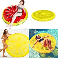 Wholesale kids inflatable beds for sale - Group buy Inflatable Lemon watermelon Water Toy Giant Floating Bed Raft Air Mattress Summer Holiday Swmming Ring cm C6755