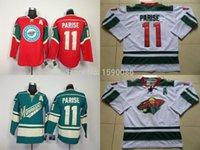 auténticas camisetas de hockey de china al por mayor-Auténtico barato Minnesota Wild Jerseys # 11 Zach Parise Jersey rojo blanco verde al por mayor Jerseys de hockey sobre hielo China