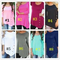 boyun tasarımı kız gömlek toptan satış-Kadınlar Düzensiz uzun kollu Bluz T-shirt Scoop Boyun Düğmesi Dekor Moda Casual Gömlek Kızlar Bayanlar Için 8 Tasarım S-6XL Tops