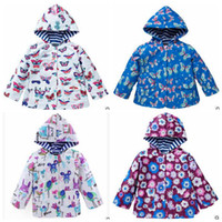baby girls cotton overcoat 2021 - Baby Kids Clothes Girls Tench Coats Windbreaker Hoodies Outdoor Jacket Ruffle Rainproof Outerwear Windproof Printed Butterfly Overcoat B5185