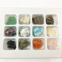 piedras preciosas de cristal de artesanía al por mayor-¡NUEVO! 12 unids Adorno Piedra Natural Y Mineral Craft Crystal Gems tono Pulido Healing Natural Crystal Gems Stone Bonita Caja de Regalo