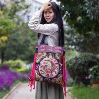 ethnisch gestickte handtaschen großhandel-Preis-Förderung Einkaufstasche! Neue nationale Art und Weise gestickte Beutel handgemachte Blumen-Stickerei-ethnische Tuch-Schulter-Beutel-Handtaschen J190627
