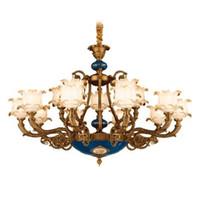 lustre de cristal real venda por atacado-Lustres luzes Europeu Americano luxo retro palácio real levou lustre de cristal led pingente luzes para o hotel villa decoração de casa