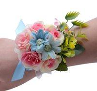 corsage armbänder großhandel-Koreanische Hochzeit Braut Handgelenk Corsage Blumen Armband Handgelenk Bouquets Brautjungfer Mädchen Künstliche Braut Rose Handgelenk Blumen Hochzeitsgeschenk