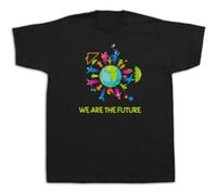 чертежи малыша оптовых-Семья дети мир будущее смешные футболки мода хлопок детские рисунки подарок 100% хлопок повседневная мужчины Майка О-образным вырезом