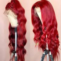 sıcak güzellik insan saçı toptan satış-Bodywave Dalgalı Renkli Dantel Ön İnsan Saç Peruk PrePlucked Tam Frontal Kırmızı Bordo Remy Siyah Kadınlar Için Brezilyalı Peruk Güneşli Güzellik SıCAK