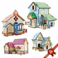 3d ev binası toptan satış-Diy 3d Modu Evi Oyuncaklar Kitleri Romantik Evi Ahşap Bulmacalar Eğitim Oyuncak Modeli Yapı Ahşap 3d Bulmaca Çocuklar Ve Yetişkinler Için
