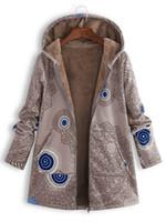 womens langer kapuzen-pullovermantel großhandel-Frauen-Entwerfer-Mantel-Art und Weise gedruckte mit Kapuze Strickjacke-Qualitäts-Frauen-Plüsch-langärmlige Jacke 19ss plus Größe S-5XL