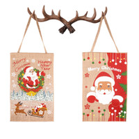 Wholesale banner props for sale - Group buy Christmas Home Garden Banner Creative Santa Claus Flag Festival Party Decorating Props Fashion Xmas Linen Banner TTA1915