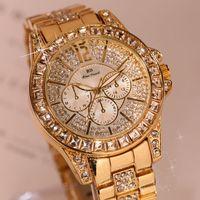 enlace reloj de cuarzo al por mayor-Diamante completo señoras reloj de cuarzo reloj de señoras moda acero correa impermeable lista vinculada