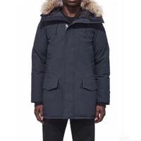 hombres con capucha de piel al por mayor-Abrigo de invierno de los hombres Langford Parka lobo cuello de piel chaqueta Puffer edredones con capucha masculina prendas de vestir exteriores piedra abajo de la capa