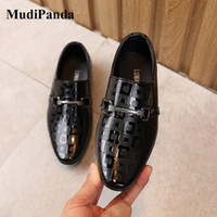 Wholesale shoes student boys resale online - MudiPanda Boys Formal Dress Shoes For Girls Pointed British Style Fashion Show Black Autumn Children Student Single Shoes