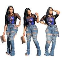 garotas de cintura grande venda por atacado-Moda Personalidade Big Hole Rippeds Flared Jeans cintura alta lavadas com água Sexy oco Out Sexy Girls Calças ocasionais de azul S - 3XL Autumn N