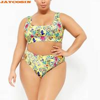 moda mais tamanho swimwear venda por atacado-JAYCOSIN Mulheres Sexy Plus Size Impressão Conjuntos Listrados Nadar Moda Beach Wear Maiôs Feminino Swimwear Mulheres Two-Piece 2019 Novo