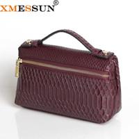 Wholesale black python bag for sale - Group buy XMESSUN Fashion Embossed Python Leather Bag Pouch Big Cow Leather Clutch Bag Luxury Designer Handbag Purse Trendy New