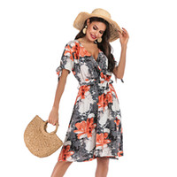 Wholesale swing patterns for sale - Group buy Womens Dresses Summer Casual Floral Geometric Pattern Short Sleeve Midi V Neck Swing Dress