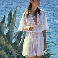 Wholesale see through dresses for women resale online - Bsubseach White See Through Swimwear Cover Up for Women Sexy Halfs Sleeve Summer Beach Holiday Wear Lace Up Tunic Dress XF8408