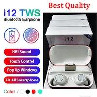 volume do fone de ouvido com zíper venda por atacado-i12 Tws Bluetooth 5.0 sem fio Bluetooth Headphones Apoio janela pop-up Earphones colorido Touch Control Wireless Headset Earbuds DHL grátis