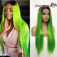 длинные прямые зеленые парики оптовых-Флуоресцентные зеленые длинные прямые волосы синтетические парики фронта шнурка T1B / зеленый средняя часть парик шнурка высокой температуры синтетические волосы парики косплей