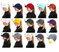 82178b9b1d4 15 colors Knitted Ponytail Beanie Hats Women Girls Winter Brim Messy Bun  Solid Ribbed Beanie Cap Outdoor Warm Crochet Headwear hot