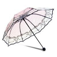 ingrosso ombrelli automatici-stampa l'inchiostro trasparente 8K donne bellissimo fiore / farfalla / modello cervi ombrello non automatica per la ragazza YS028 Rosa Transpar stampa pieghevoli ...