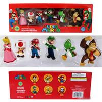 mario arabaları toptan satış-DONKEY KONG Süper Mario Bros Bowser Luigi Koopa Yoshi Mario Araba Kurbağa Şeftali Prenses Odyssey PVC Action Figure Modeli Bebekler Oyuncaklar