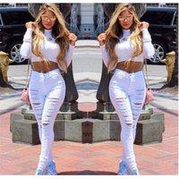 модные джинсы большие дыры оптовых-2019 новой мода дикая случайные пригородная большое отверстие небольшая брюки ноги личность оттачивая сломана эластичные джинсы женских брюк