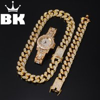Wholesale watches bracelets sets resale online - 2cm Hip Hop Gold Color Iced Out Crystal Miami Cuban Chain Gold Silver Necklace Bracelet watch Set HOT SELLING THE HIP HOP KING