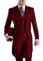 утренний стиль куртки оптовых-Утренний стиль жениха пика отворотом смокинги бордовые мужские костюмы свадьба / выпускной / ужин лучший блейзер (куртка + брюки + галстук + жилет) B468