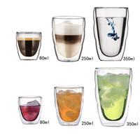 Wholesale stock lenses resale online - Double Deck Insulation Threaded Manual Blow Molding Mug Denier Cup Cap puccino ECO Friendly Non Slip Transparent Hot Sale brbE1