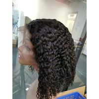 color lace front wigs achat en gros de-Cheveux vierges malaisiens avant de lacet de cheveux humains perruques Bob perruque vague profonde Kinky bouclés naturel couleur perruque avant de lacet