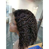 bob wigs toptan satış-Malezyalı Bakire Saç İnsan Saç Dantel Açık Peruk Bob Peruk 13X4 Boyut Derin Dalga Kinky Kıvırcık Doğal Renk Bob Dantel Açık Peruk
