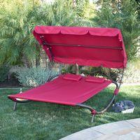 бордовое постельное белье оптовых-Открытый внутренний дворик с широким патио и шезлонгом в гамаке - бордовый