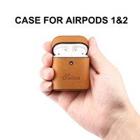 leder kopfhörer fällen groihandel-Original SUTENI Tasche für Apple AirPods Bluetooth Kopfhörer PU-Leder-Kasten-Abdeckung für Air Pods 1 2 Funda Abdeckung Ladebox Hüllen
