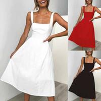 frauen kleiden linie midi großhandel-Neue Frauen Urlaub Strap A Line Sleeveless Backless Kleid Damen Sommer Strand Midi Swing Party Sun Dress
