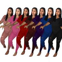 schläger tee großhandel-Marke Designer Frauen Sportanzug 2 Stück Set Kurzarm T-Shirt Leggings Trainingsanzug Sportswear Pullover T-Shirt Hosen Outfits S-3XL