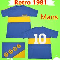 camiseta azul de boca juniors al por mayor-Club Atlético 1981 Retro Boca Juniors camisetas de fútbol vintage camisetas de fútbol casa azul amarillo MARADONA clásico antiguo camisetas de futbol