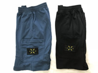 Wholesale sport logos resale online - American top material beach shorts mens retro sports pants cotton blue short logo tie embroidery summer street explosions five trousers