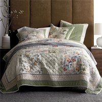 Wholesale foreign bedding online - Cotton quilt set comforter hand quilted by American bed cover Three piece bed sheets Foreign trade original per set