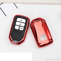 clave ix35 al por mayor-TPU Funda para llave de coche adecuada para Honda Fit Accord Civic CR-V CRV City Jazz Elantra IX35 Santafe Llavero Accesorios