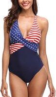conjuntos de bikini bandera americana al por mayor-Top de baño de playa para mujer Super Hero Bikini con bandera estadounidense, Crystal Star Texas Bikini, American Flag Bikini, Stars Stripes Bikini set Swimwear