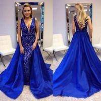 hermoso vestido de noche azul al por mayor-2018 Royal Blue Lace Vestidos de noche New Coming Long V Neck Backless Vestidos de fiesta Elegantes y hermosos vestidos de fiesta