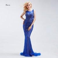 ingrosso camicia di vestito dall'azzurro reale delle donne-Abiti da sera lunghi da sera Illusion See Through Back Perline di cristallo Moda Donna Sexy sirena Abiti da sera formale blu royal