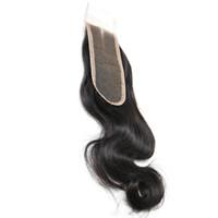 cabelo onda do corpo birmanês venda por atacado-Barato Burmese Fechamentos de Cabelo Humano 2x6 Top Quality Reta Fechamento de Renda Francesa Suíço sew em Onda Do Corpo Ondulado Virgem 8-20 polegada 1 Peças amostra