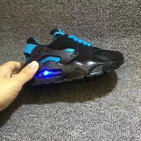 luces intermitentes para zapatillas al por mayor-Fashion Flash Lighted Kids Air Huarache Niños Zapatos para correr Infantiles Huaraches Niño pequeño al aire libre Atlético Boy Girls Sneaker 26-35