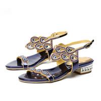 ingrosso sandali blu più il formato-2019 Gladiatore Sandali piatti Scarpe da donna Sandali estivi Plus Size 43 44 Blu argento nero oro scarpe da damigella d'onore