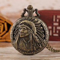Wholesale souvenir vintage pendant resale online - Vintage Old Man Portrait Design Quartz Fob Pocket Watch Retro Bronze Pendant Necklace Chain Antique Souvenir Gifts for Men Women